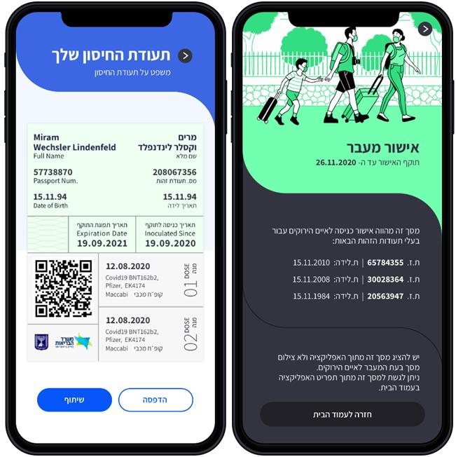 אפליקציית רמזור (כולל דרכון ירוק)