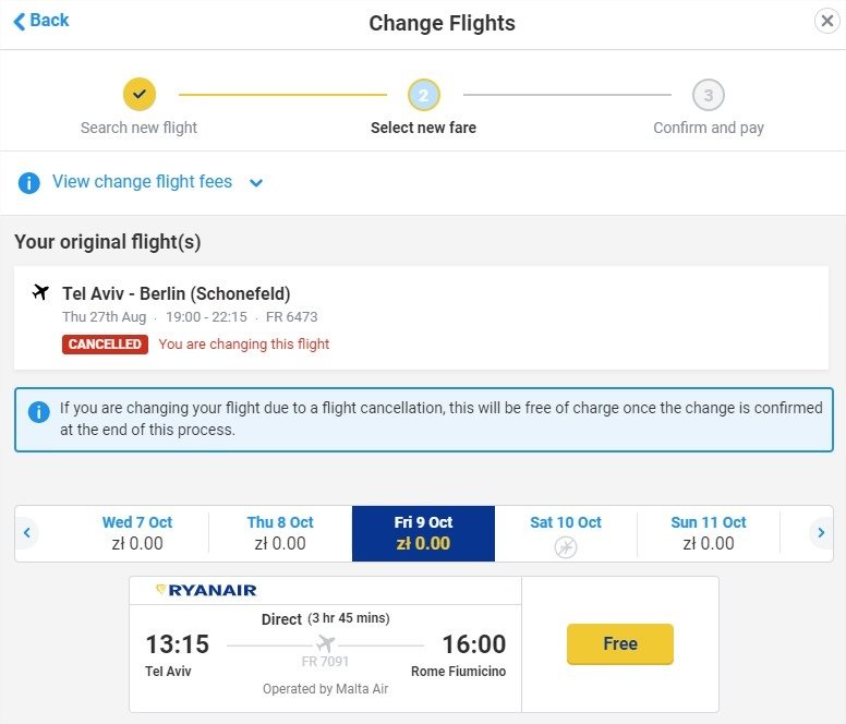 שינוי טיסה בריינאייר