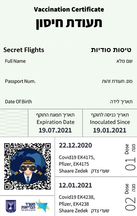 דרכון ירוק - תעודת מתחסן ממשרד הבריאות
