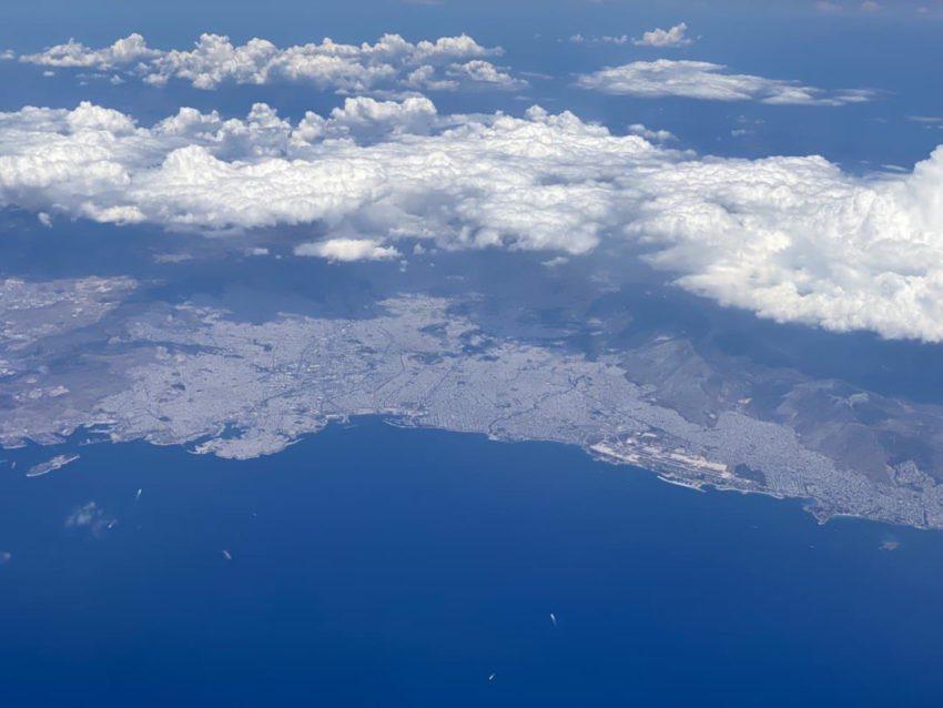 אתונה מהחלון המטוס - טיסת ישראייר לקורפו