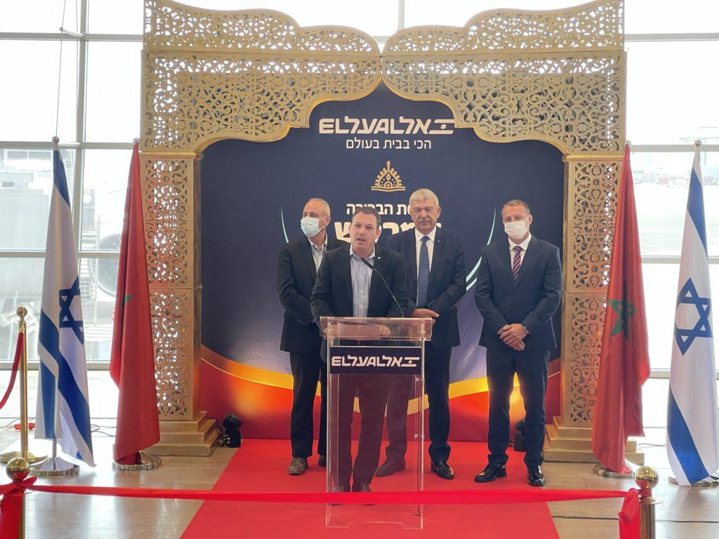 """אביגל שורק מנכ""""ל אל על, יואל רזבוזוב שר התיירות, ונציג משרד התיירות המרוקני"""